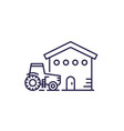 agrimotor and barn line icon on white