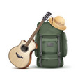 backpack with hat and guitar vector image vector image