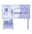 blue shading silhouette of workplace home office vector image vector image