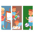children playing banner different types of vector image