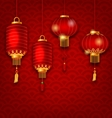 Chinese Background with Lanterns Seigaiha Texture