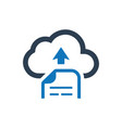 cloud file upload icon vector image vector image