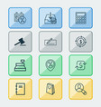 commerce icons set with auction microcomputer vector image