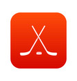 crossed hockey sticks and puck icon digital red vector image vector image