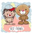 cute cartoon bear and hedgehog vector image