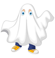 Cute kid in a ghost costume celebrating Halloween vector image vector image