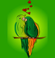 cute parrots falling in love on a branch vector image vector image