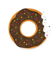 donut with a mouth bite isolated on white vector image vector image