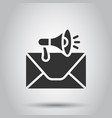 envelope notification icon in flat style email vector image vector image