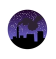 Factory pipe with smoke at night vector image vector image