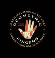 finger hand geometric t shirt badge vintage vector image
