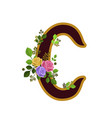 flower alphabet letter c decorated with roses and vector image