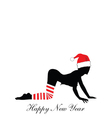 girl in red hat for new year silhouette vector image vector image