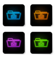 glowing neon folder download icon isolated on vector image