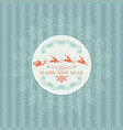 green christmas card with santa claus on deer vector image vector image