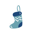 hand drawn christmas holiday blue sock vector image vector image