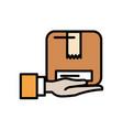 hand lifting box carton packing postal service vector image vector image