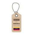 hang tag made in venezuela with flag icon isolated vector image vector image