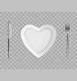 heart plate fork and knife empty table setting vector image vector image