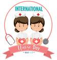 international nurse day logo with cute nurses vector image vector image