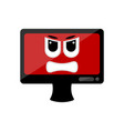 isolated angry computer screen emote vector image vector image