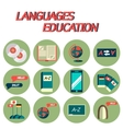 Languages education flat icon set vector image vector image