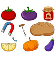 large set different food and other items on vector image