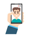 live video streaming smartphone in hand social vector image vector image