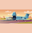 loading container on cargo airplane cartoon vector image vector image