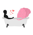 Love to brain Mind and man in bath Man and central vector image vector image