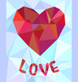 low poly heart background vector image vector image