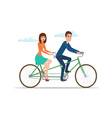 Man and woman on twin bike Young couple riding a vector image vector image