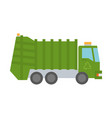 modern green garbage truck vector image