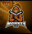 monkey gunner esport mascot logo design vector image vector image