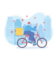 online delivery service man in bike with mask and vector image