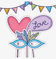 party flags with heart and chat bubble with mask vector image