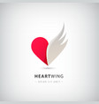 red heart half logo with wing abstract vector image