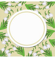 round card on a pattern of snowdrops on a beige vector image vector image