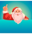 Santa Claus pointing up on a blue background vector image