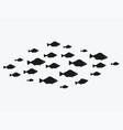 school fish a group silhouette fish swim in vector image vector image