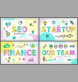 seo start up and finance set vector image vector image
