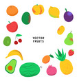 set colorful cartoon fruits vector image