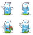 set of milk box character with successful smirking vector image vector image
