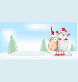 sheep christmas mascot with santa claus cartoon vector image vector image
