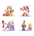 shopaholic cartoon design concept vector image vector image