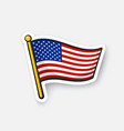 sticker flag united states on flagstaff vector image
