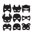 Super hero masks for face character in black vector image