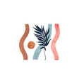 tropical leaf and wavy stripes modern poster