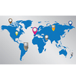 World map with location pointers vector image vector image