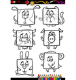 cute animals cartoon coloring book vector image